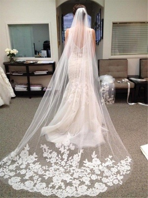Ivory Lace Edge Cathedral Length Wedding Bridal Veil with Comb