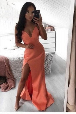 Simple Spaghetti strap Cheap Watermelon Sexy High split Prom Dress