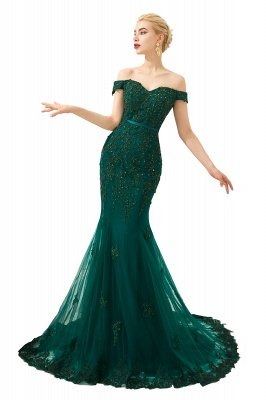 Harvey | Emerald green Mermaid Tulle Prom dress with Beaded Lace Appliques_1