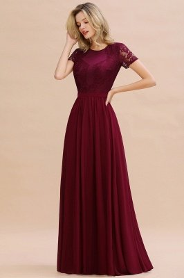Abraham | Burgundy Short Sleeve Lace Simple Chiffon Formal Dress, Pink, Dark Green_13