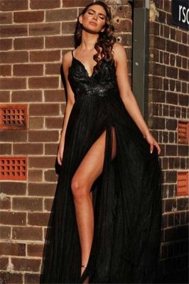 Black Spaghetti Straps Open Back Evening Gowns | Sexy Sleeveless Backless V-neck Formal Dresses With Slit_1