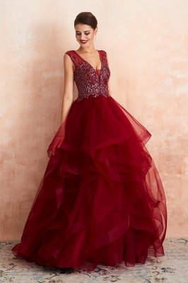 Cherise | Wine Red V-neck Sparkle Prom Dress with Muti-layers, Discount Burgundy Sleevleless Ball Gown for Online Sale_7