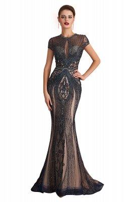 Chloe | Luxury Dark Navy Cap Sleeve Key hole Sparkle Prom Dress Online, Beautiful Champange Dresses for Evening Party_1