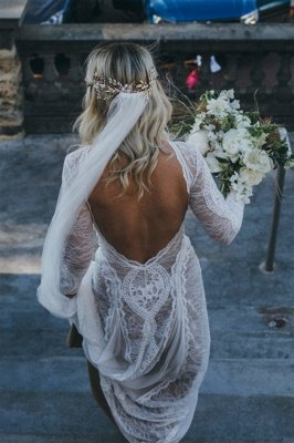 Elegant Boho Long Sleeves Backless Lace Beach Wedding Dress   Simple Summer Casual Bridal Gowns Online_2