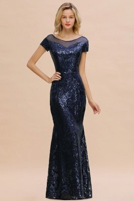 Helen| Long Sequined Cap sleeves Scoop neck Formal dress for Prom_13