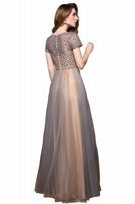 Aria | Stunning Short Sleeves Squared Sequined Tulle Luxury Prom Dress_10