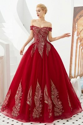 Henry | Elegant Off-the-shoulder Princess Red/Mint Prom Dress with Wing Emboirdery_7