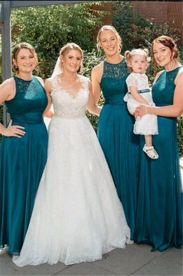 Summer Jewel Open Back Lace Sleeveless Bridesmaid Dresses | Sexy Backless Affordable Floor Length Lace Maid Of Honor Dresses_1