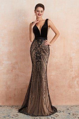 Celeste   Robe de soirée sexy de style compliqué à col en V noir, robe de velours sans dossier en paillettes étincelante pour bal de promo_6