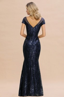 Helen| Long Sequined Cap sleeves Scoop neck Formal dress for Prom_3
