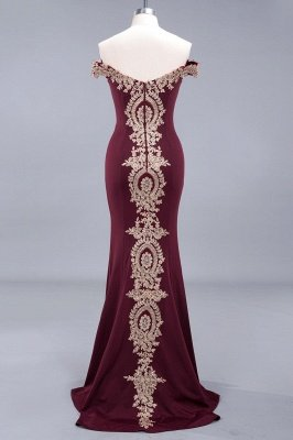 Simple Off-the-shoulder Cheap Burgundy Formal Dress with Lace Appliques_15