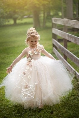 Gorgeous Jewel Sheer Long Sleeves Puffy Tulle Flower Girl Dresses with Handmade Flowers | Floor Length Little Girl Pageant Dress