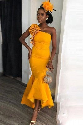 One-shoulder Yellow Mermaid Ankle-length Evening Dress with hand-made Flowers | Bridesmaid Dresses under $100_2