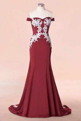Mermaid Off The Shoulder Sweet Heart Lace Appliques Bridesmaid Dresses | Long Burgundy Gowns With Sweep Train