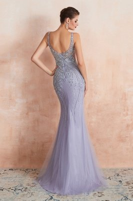Chipo | Luxury Illusion neck Lavender White Beads Prom Dress Online, Expensive Low back Column Evening Gowns_3