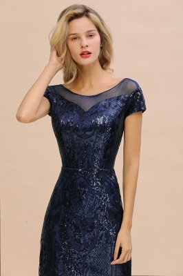 Helen| Long Sequined Cap sleeves Scoop neck Formal dress for Prom_5