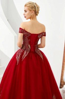 Генри | Элегантное красное плечевое платье принцессы с открытыми плечами и вышивкой с крылышками_8