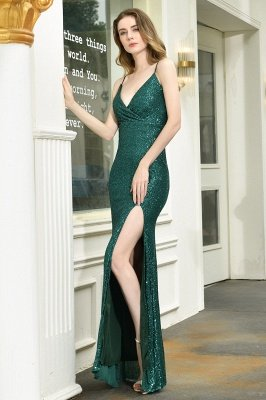 Ardell | Sexy Black Emerald Sequined High Slit Prom Dress Online_12