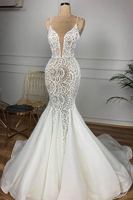 Luxury Spaghetti Strap Plugging V-neck White Sleeveless Mermaid Hollow Wedding Dress