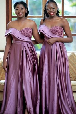 One-Shoulder Sexy Sweet Heart  Liac Purple Beaded Long Prom Dresses With Split | Stylish Autumn Long beads Gowns