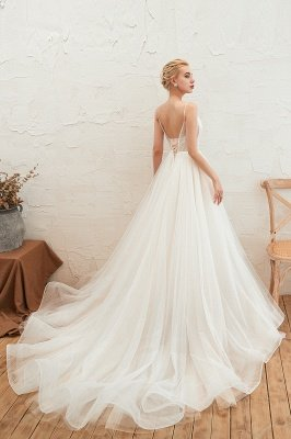 Summer Spaghetti Straps Plunging V-neck Champange Wedding Dress | Sexy Low Back Bridal Gowns Online_12