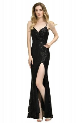 Ardell | Sexy Black Emerald Sequined High Slit Prom Dress Online_26