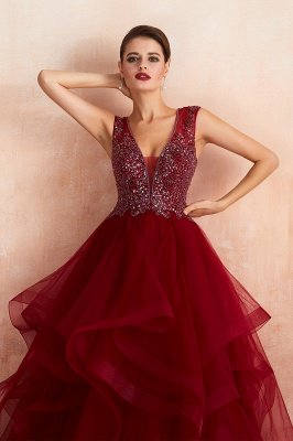 Cherise | Wine Red V-neck Sparkle Prom Dress with Muti-layers, Discount Burgundy Sleevleless Ball Gown for Online Sale_8