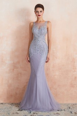 Chipo | Luxury Illusion neck Lavender White Beads Prom Dress Online, Expensive Low back Column Evening Gowns_2