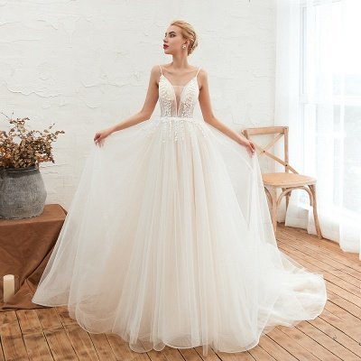 Summer Spaghetti Straps Plunging V-neck Champange Wedding Dress | Sexy Low Back Bridal Gowns Online_10