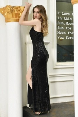 Ardell | Sexy Black Emerald Sequined High Slit Prom Dress Online_23
