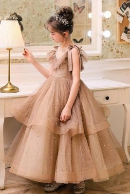 Romantic V-neck Straps Tulle Puffy Princess Flower Girl Dresses | V-back Kids for Dress For Wedding