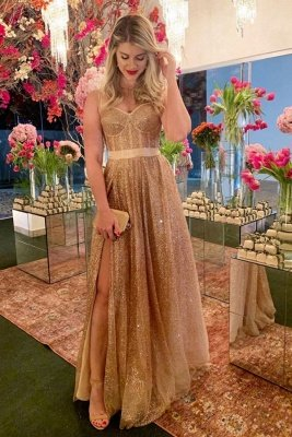 Affordable Sparkle Gold Sequin Sweetheart Prom Dress with Sexy High Split