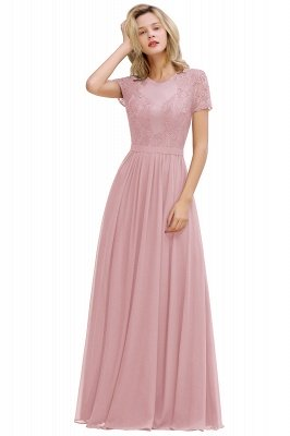 Abraham | Burgundy Short Sleeve Lace Simple Chiffon Formal Dress, Pink, Dark Green_2