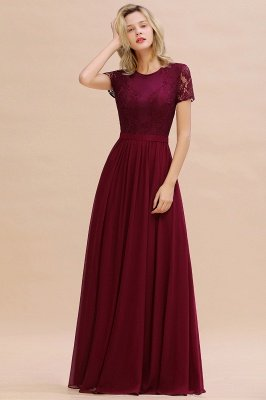 Abraham | Burgundy Short Sleeve Lace Simple Chiffon Formal Dress, Pink, Dark Green_7