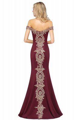 Simple Off-the-shoulder Burgundy Formal Dress with Lace Appliques_39