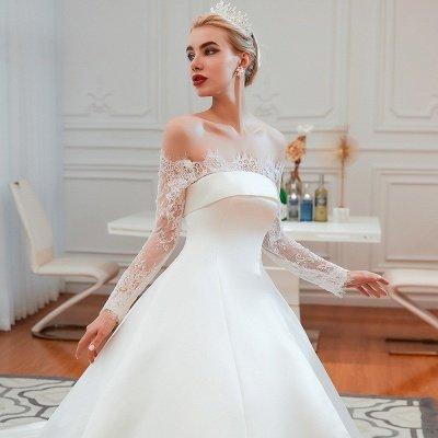 فستان زفاف الأميرة من الساتان بأكمام طويلة من الدانتيل الرومانسي | فساتين زفاف الأميرة مع قطار الكاتدرائية_20