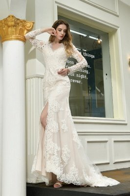 Delicate V-Neck High Split Long Sleeves Lace Wedding Dress With Court Train_8