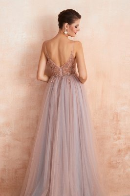 Charlotte | New Arrival Dusty Blue, Pink Spaghetti Strap Prom Dress with Sexy High Split, Evening Gowns Online_8