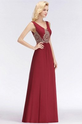 Charming V-Neck Gold Appliques aline Evening Maxi Gown Sleeveless Chiffon Prom Party Dress