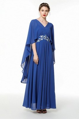 Royal Blue Spaghetti Strap Chiiffon Bridesmaid Dress with Wrap | Church Long Maid of Hornor Dress