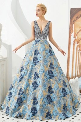 Heather | Luxury Floral Sexy Deep V-neck Princess Prom Dress with Deep V-back_5