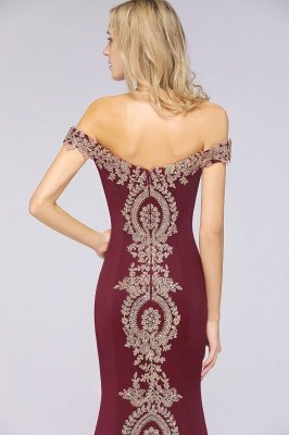 Simple Off-the-shoulder Cheap Burgundy Formal Dress with Lace Appliques_41