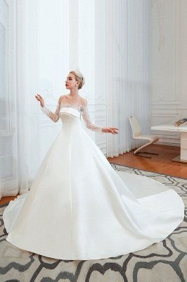 فستان زفاف الأميرة من الساتان بأكمام طويلة من الدانتيل الرومانسي | فساتين زفاف الأميرة مع قطار الكاتدرائية_10