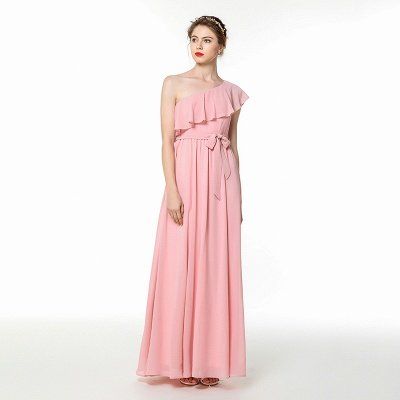 Candy | Pink One-shoulder Flounce Bridesmaid dress with self-tie bow_1