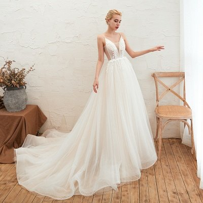 Summer Spaghetti Straps Plunging V-neck Champange Wedding Dress | Sexy Low Back Bridal Gowns Online_13