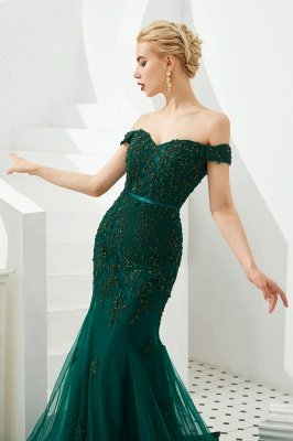 Harvey | Emerald green Mermaid Tulle Prom dress with Beaded Lace Appliques_8
