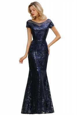 Helen| Long Sequined Cap sleeves Scoop neck Formal dress for Prom_1