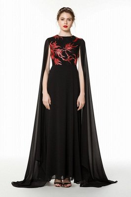 Elegant Black Long Evening Dress with Shawl | Round neck Modest Bridesmaid Dress_2