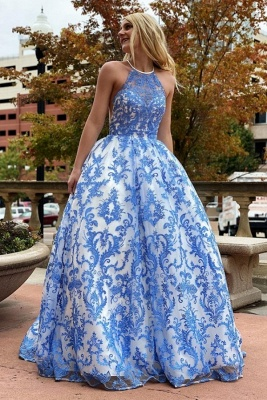 Ramona | White Halter Illusion neck Puffy Blue Lace Prom Dress