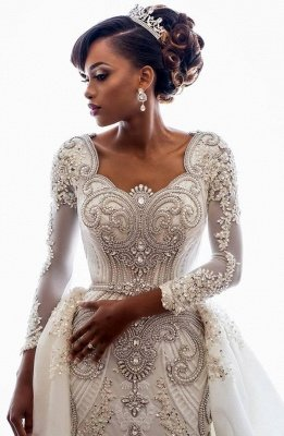 Mermaid Wedding Dresses with Trendy Overskirt | Beads Lace Appliques Long Sleeve Bridal Gowns